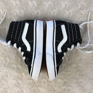Vans Shoes - Vans High Top Sneakers Black White Toddler Size 4